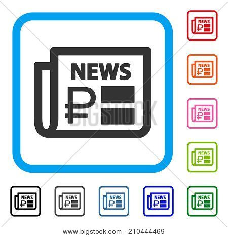 Rouble Financial News icon. Flat gray pictogram symbol in a light blue rounded squared frame. Black, gray, green, blue, red, orange color additional versions of Rouble Financial News vector.