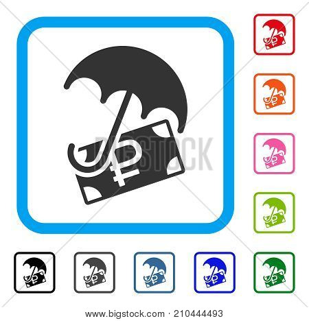 Rouble Financial Safety icon. Flat grey pictogram symbol in a light blue rounded squared frame. Black, gray, green, blue, red, orange color additional versions of Rouble Financial Safety vector.