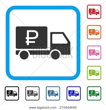 Rouble Shipment icon. Flat grey iconic symbol inside a light blue rounded rectangular frame. Black, gray, green, blue, red, orange color additional versions of Rouble Shipment vector.