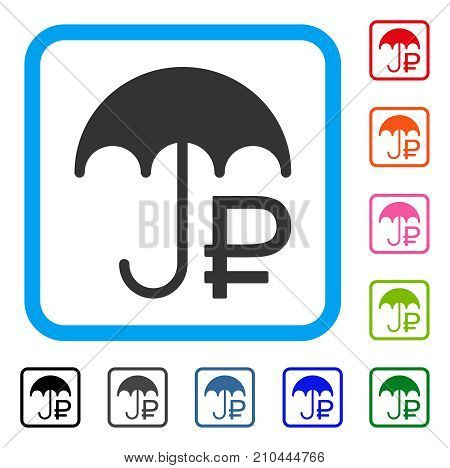 Rouble Umbrella icon. Flat grey pictogram symbol inside a light blue rounded rectangle. Black, gray, green, blue, red, orange color versions of Rouble Umbrella vector.