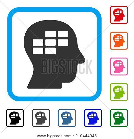 Schedule Thinking icon. Flat gray iconic symbol inside a light blue rounded rectangle. Black, gray, green, blue, red, orange color versions of Schedule Thinking vector.