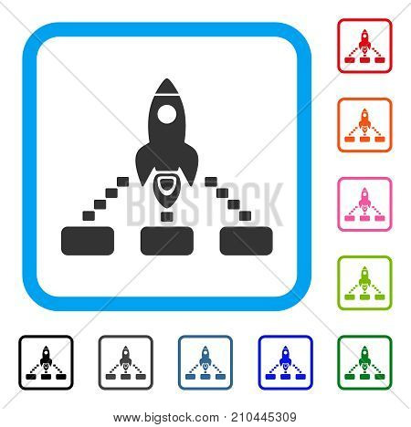 Space Rocket Collaboration icon. Flat grey pictogram symbol in a light blue rounded frame. Black, gray, green, blue, red, orange color versions of Space Rocket Collaboration vector.