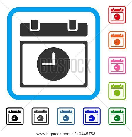 Time Schedule icon. Flat grey iconic symbol in a light blue rounded rectangle. Black, gray, green, blue, red, orange color variants of Time Schedule vector.