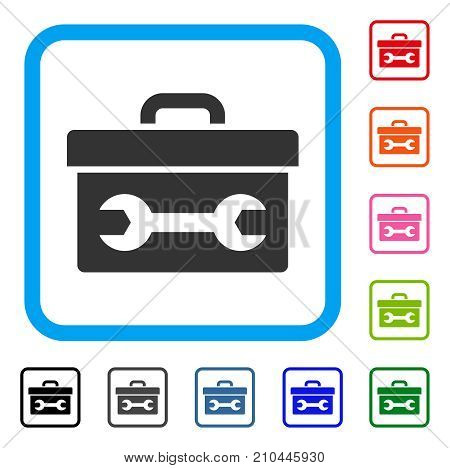 Toolbox icon. Flat gray pictogram symbol in a light blue rounded rectangle. Black, gray, green, blue, red, orange color additional versions of Toolbox vector. Designed for web and app user interface.