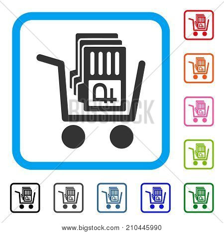 Transfer Rouble Accounts icon. Flat grey iconic symbol inside a light blue rounded rectangular frame. Black, gray, green, blue, red, orange color variants of Transfer Rouble Accounts vector.