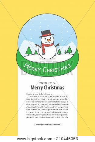 Banner Snowman In The Snowglobe Illustration Vector On White Background. Merry Christmas Concept.