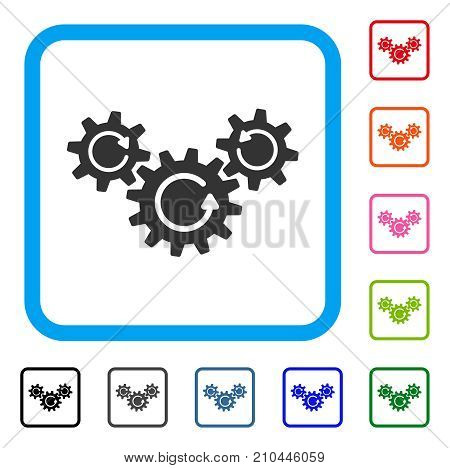 Transmission Wheels Rotation icon. Flat grey pictogram symbol in a light blue rounded squared frame. Black, gray, green, blue, red, orange color versions of Transmission Wheels Rotation vector.