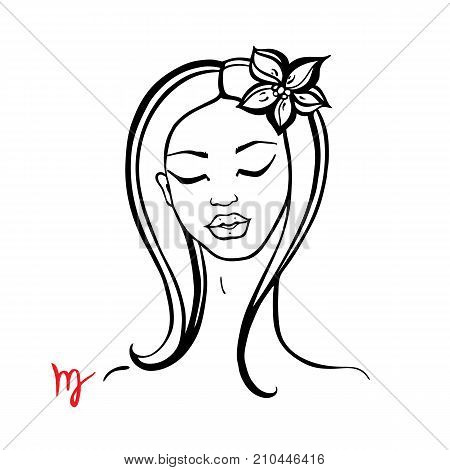 Virgo. Zodiac signs collection. Beautiful Ink fashion zodiac girl. Horoscope series. Vector illustration