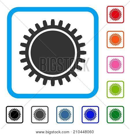Cogwheel icon. Flat grey iconic symbol in a light blue rounded square. Black, gray, green, blue, red, orange color additional versions of Cogwheel vector. Designed for web and software UI.