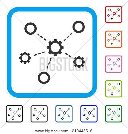 Gears Relations icon. Flat grey pictogram symbol in a light blue rounded frame. Black, gray, green, blue, red, orange color versions of Gears Relations vector. Designed for web and app user interface.