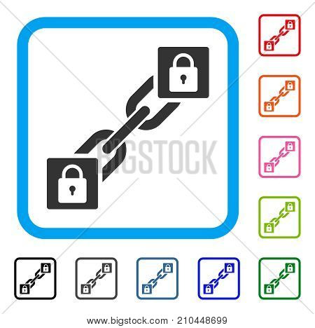 Lock Blockchain icon. Flat gray pictogram symbol inside a light blue rounded rectangle. Black, gray, green, blue, red, orange color versions of Lock Blockchain vector.