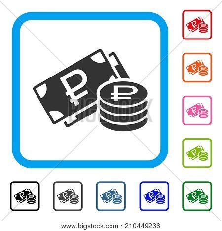 Rouble Cash icon. Flat grey iconic symbol inside a light blue rounded square. Black, gray, green, blue, red, orange color versions of Rouble Cash vector. Designed for web and application interfaces. poster