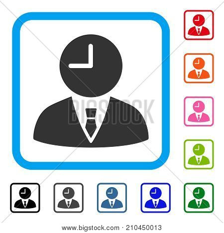 Time Manager icon. Flat grey iconic symbol in a light blue rounded rectangular frame. Black, gray, green, blue, red, orange color variants of Time Manager vector.