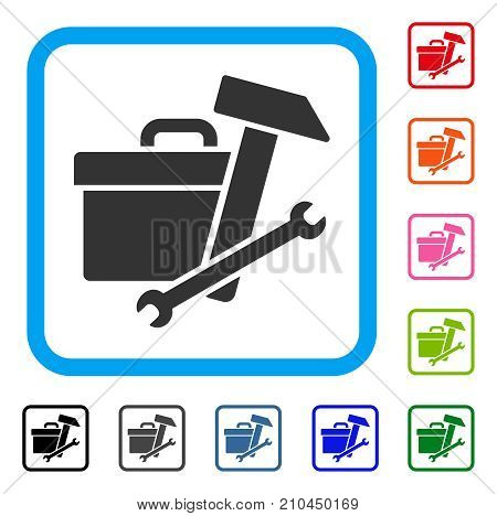 Toolbox icon. Flat grey iconic symbol inside a light blue rounded squared frame. Black, gray, green, blue, red, orange color versions of Toolbox vector. Designed for web and software user interface.