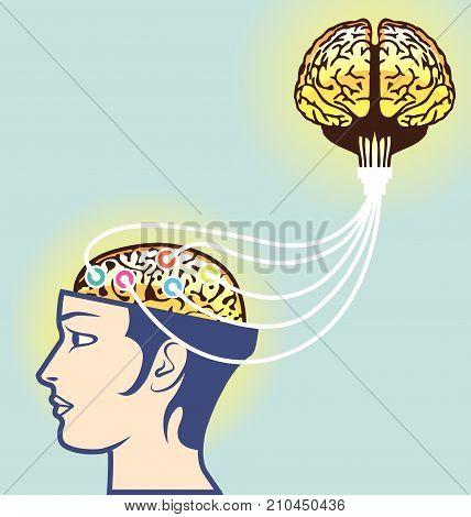 Double Brain Power Vector Illustration Clip-art Image