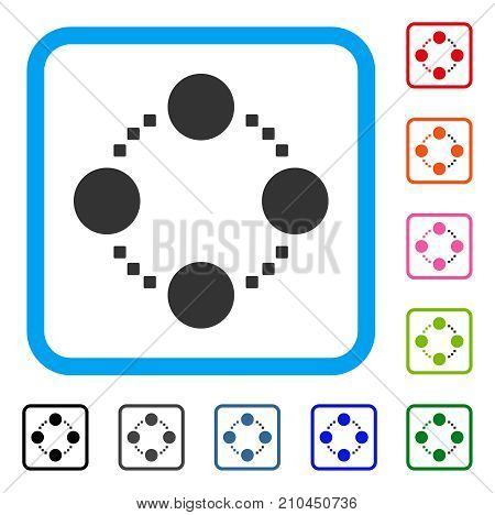 Circular Relations icon. Flat gray pictogram symbol inside a light blue rounded rectangle. Black, gray, green, blue, red, orange color additional versions of Circular Relations vector.