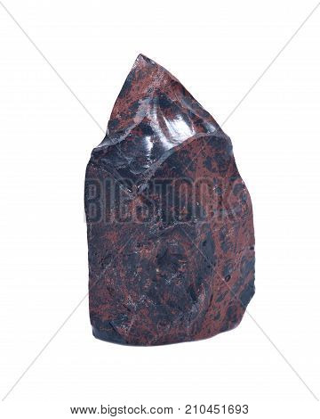 Mahogany obsidian polished carving isolated on white background
