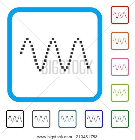 Sinusoid Waves icon. Flat gray pictogram symbol in a light blue rounded frame. Black, gray, green, blue, red, orange color additional versions of Sinusoid Waves vector. Designed for web and app UI.