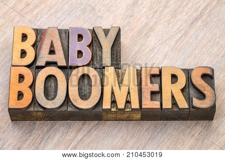 Baby boomers word abstract in vintage letterpress  wood type
