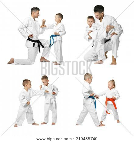 Collage with little children and teacher practising karate on white background