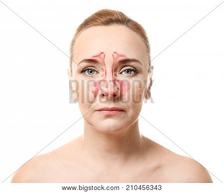 Mature woman with illustration of paranasal sinus on grey background. Asthma concept