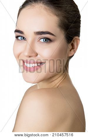 Beauty female portrait. Laughing woman mouth with great teeth over white background. Healthy beautiful female smile. Teeth health, whitening, prosthetics and care.