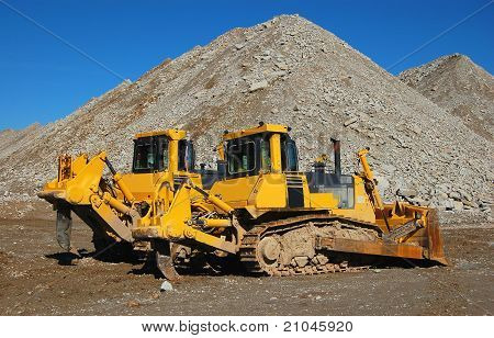 Bulldozer in open pit