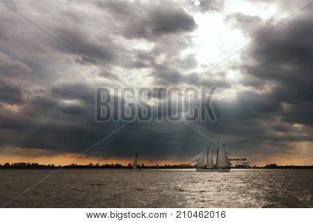 Sailing Ship on the Elba River, Hamburg, Germany