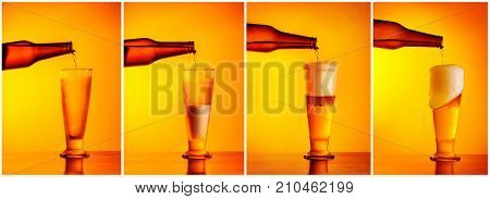Pouring beer sequence collage, four photos of a beer glass, refill concept, pub menu, oktoberfest holiday still life