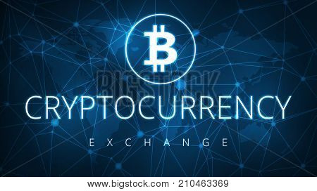 Bitcoin simbol with words cryptocurrency exchange on futuristic hud background with world map and blockchain peer to peer network. Global cryptocurrency exchange business banner concept.