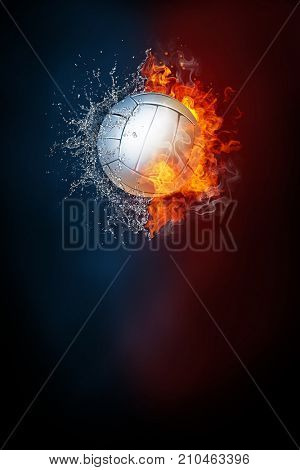 Volleyball ball exploding by elements fire and water. Background for sports tournament poster or placard. Vertical design with copy space.