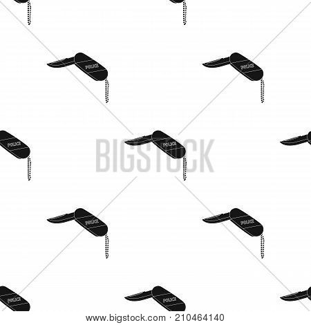 Folding knife with the inscription police.The penknife of the detective. single icon in black style vector symbol stock illustration .