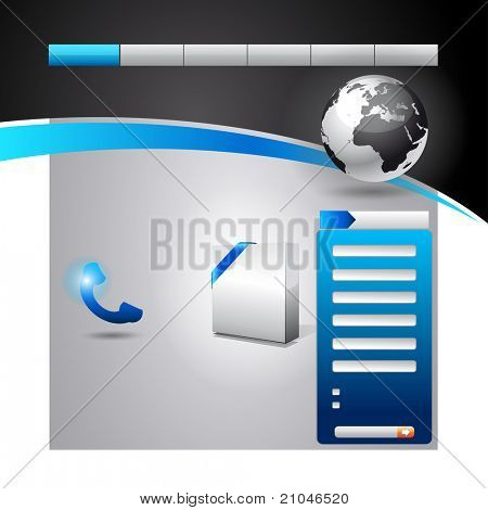 Business WebSite Template with accurate Globe illustration and space for featured product promotion in the homepage.