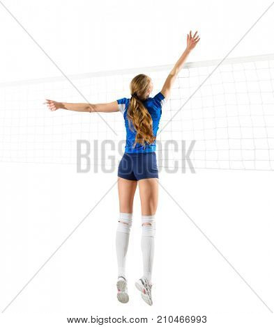 Young woman volleyball player isolated (ver with net)