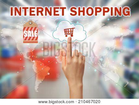 Woman pushing shopping cart button of internet store on virtual screen