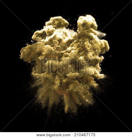 Gold glitter stardust smoke powder explosion isolated on black background. Golden magic particular fluid haze effect with glowing shimmering texture for fashion glamour cosmetic background design