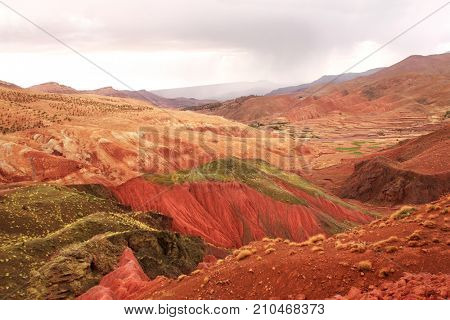 Famous multi-colored clay soil in Atlas mountains, Morocco, North Africa