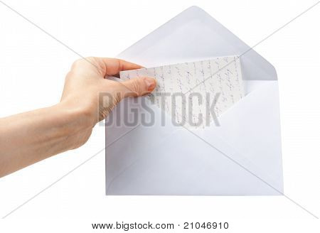 Female Hand Holding An Envelope