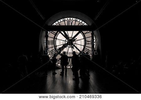 Paris, France, March 28 2017: inside view of the clock of Orsay museum in Paris.