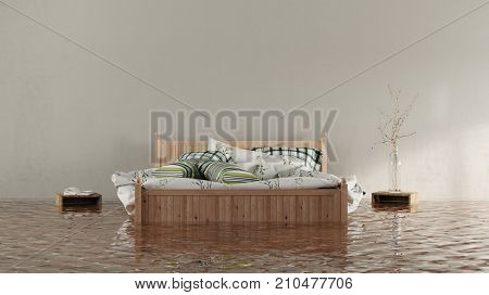 Water damage or flooding concept with floating bed in house (3D Rendering)