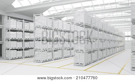 Clean warehouse or stock depot with many white boxes (3D Rendering)
