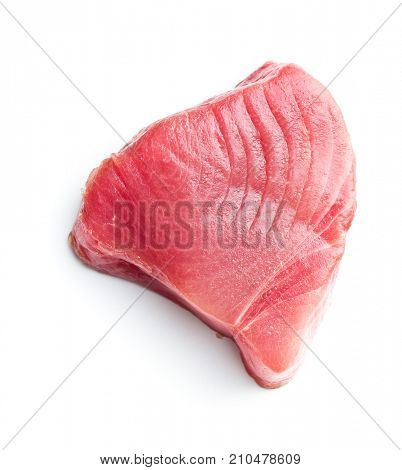 Fresh raw tuna steak isolated on white background.