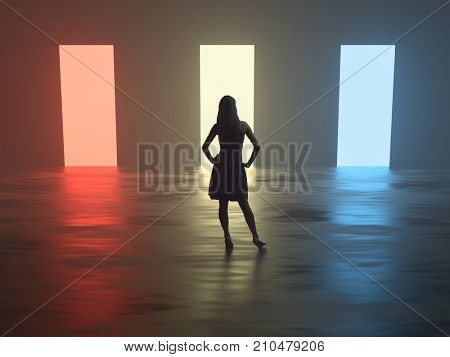 young woman is standing in front of different open doors, 3d illustration
