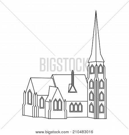 Building, single icon in outline style.Building, vector symbol stock illustration .
