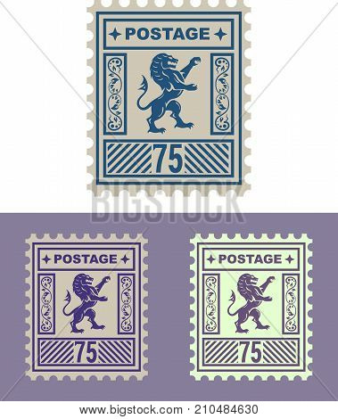 Lion Royal mail stamp illustration clip-art image