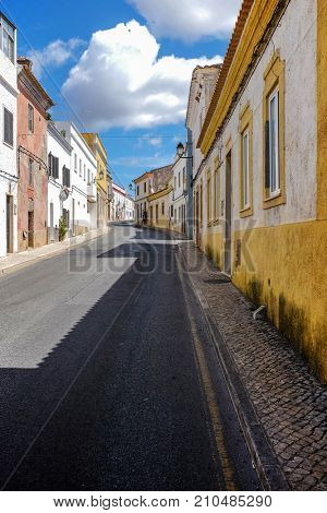 Empty street in the typical village of Paderne, Algarve - Portugal