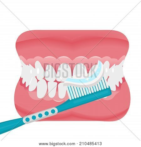 Jaw with teeth and toothbrush icon flat style. Open mouth, dentures. Dentistry, medicine concept. Isolated on white background. Vector illustration