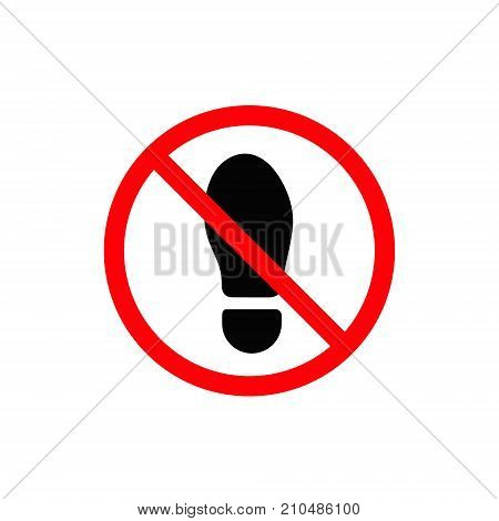 No foot step sign. Vector precede icon red and black illustration.