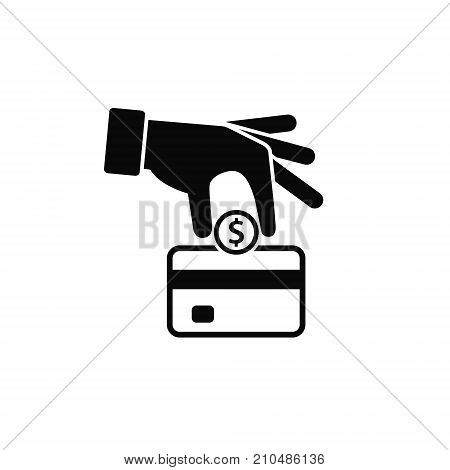 Hand put coin into and bank card icon vector. Cash get a bank card replenish card. replenishment process illustration.