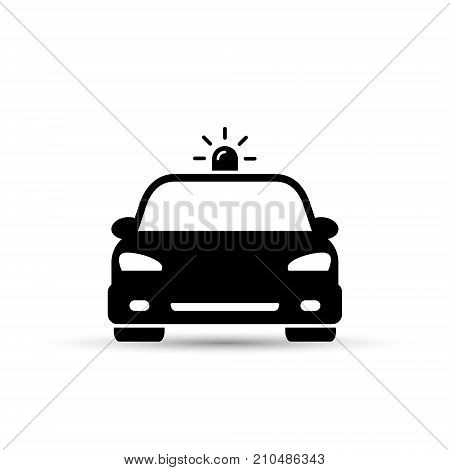 Police Car icon vector iolated flat illustration. Front view.